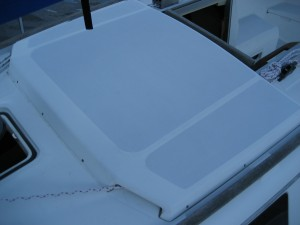 Companionway hood with halyard installed