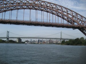 Close up of Hell Gate Bridge