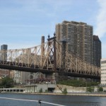 Art next to the Queensboro Bridge from a distance