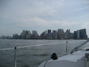 Manhatten from the water in front of the Statue of Liberty