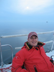Me with the moon rising over the Delaware Bay