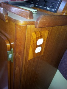 Varnished Teak Duplex 110v Outlet